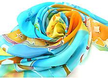 Šatky - Fiesta del jardín. Krepdešínový šátek. - 10760052_