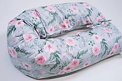 Textil - Tehotenský vankúš / Vankúš na dojčenie veľké ruže na sivom - 10758477_