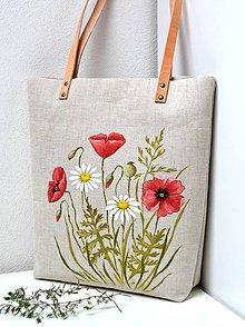 Kabelky - Plátená kabelka-maľovaná-Margaréty a divý mak - 10759635_