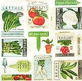 Papier - S1257 - Servítky - záhrada, garden, šalát, špargľa, zelenina - 10759759_