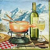 Papier - S1187 - Servítky - hory, víno, fondue, káro, syr, pohár, vrchy, piknik - 10759767_