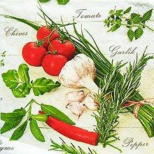 Papier - S797- Servítky - cesnak, bylinky, rajčina, herbs, pažitka - 10759167_