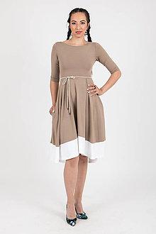 Šaty - Zľava 10% MIESTNE ŠATY KLASIK (béžovo-biele) - 10759053_