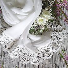 Šály - Něžný advent - svatební šifonový šál s krajkou - 10759006_