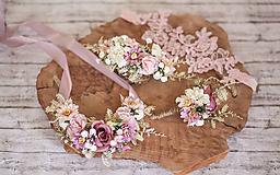 Ozdoby do vlasov - Kvetinový ružový polvenček - 10760843_