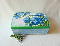 Krabičky - Drevená truhlička Modré hortenzie - 10759382_