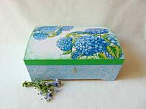 Krabičky - Drevená truhlička Modré hortenzie - 10759387_