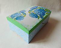 Krabičky - Drevená truhlička Modré hortenzie - 10759395_