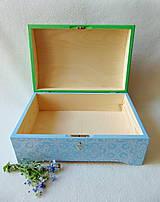 Krabičky - Drevená truhlička Modré hortenzie - 10759396_