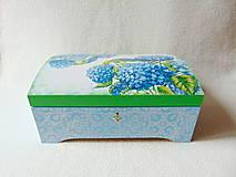 Krabičky - Drevená truhlička Modré hortenzie - 10759402_