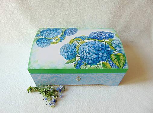 Drevená truhlička Modré hortenzie