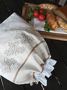 Úžitkový textil - Ľanové vrecko z  ručne tkaného  plátna PODŠITÉ - 10759654_