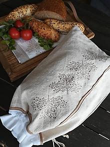 Úžitkový textil - Ľanové vrecko z ručne tkaného plátna - 10759667_