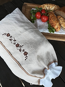 Úžitkový textil - Ľanové vrecko z ručne tkaného plátna - 10759704_