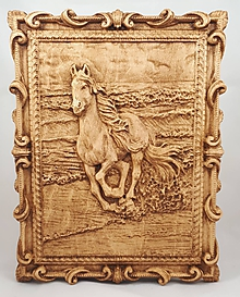 Dekorácie - Koník - Drevený 3D obrázok - 10758575_