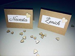 Papiernictvo - Menovky na svadobný stôl so srdiečkom - 10758376_