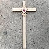 Dekorácie - Veľký drevený kríž s Krištáľovým Srdcom - 10759015_