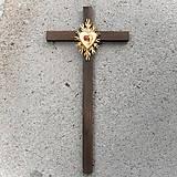 Dekorácie - Veľký drevený kríž s Krištáľovým Srdcom - 10759032_