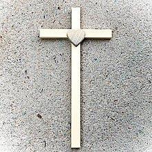 Dekorácie - Drevený Kríž s Modrým Srdcom - 10758567_