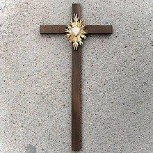 Dekorácie - Veľký Drevený Kríž so Srdcom - 10759105_