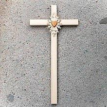 Dekorácie - Veľký Drevený Kríž so Srdcom - 10759142_