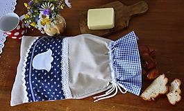 Úžitkový textil - Vrecko na chlieb - modrotlač - 10759320_