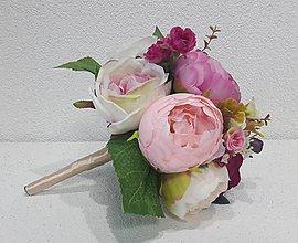 Dekorácie - Cyklámenová kytička z pivónií - 10759427_