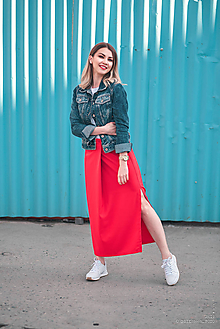 Sukne - Dlhá červená sukňa - 10759935_