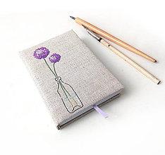 Papiernictvo - Vyšívaný zápisník Kvety cibule - A6 - 10759275_