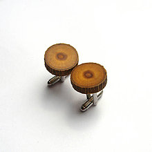 Šperky - Drevené manžetové gombíky - morušové krúžky s kôrou - 10758597_