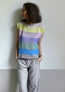 Topy - pásikové pastelové tričko - 10758662_