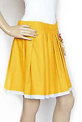 Sukne - Zľava 13,- eur_Jasmína... skladaná sukienka... v žltej s bielymi bodkami na šedej - 10761062_