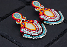Náušnice - Farebné šujtášové náušnice so Swarovski kryštálmiDobrava - 10762478_