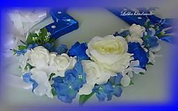 Dekorácie - Výzdoba svadobného auta kráľovská modrá - 10761358_