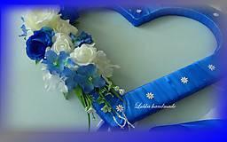 Dekorácie - Výzdoba svadobného auta kráľovská modrá - 10761361_