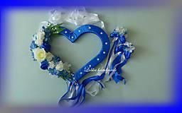 Dekorácie - Výzdoba svadobného auta kráľovská modrá - 10761364_
