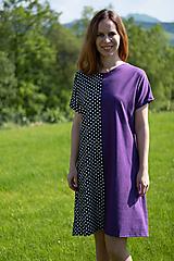 Šaty - Šaty fialovo-čiernomodré s bielou bodkou - 10762360_