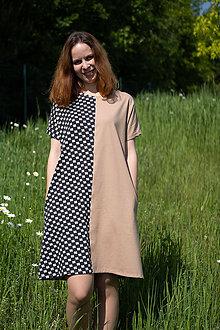 Šaty - Šaty s vreckami béžovo-čierne - 10762230_