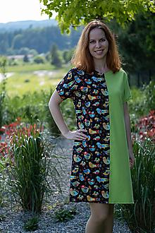 Šaty - Šaty zeleno čierne vtáčikové - 10762299_