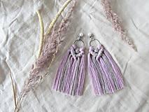 Náušnice - Makramé náušnice SIENNA (ružová/hnedá) - 10761914_