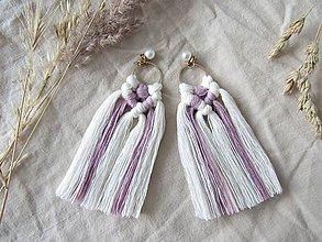 Náušnice - Makramé náušnice SIENNA (ružová/biela) - 10761908_