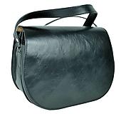 Kabelky - Kabelka kožená lovecká, tampónovaná trieslena useň, skrytý magnet, čierna farba - 10761832_