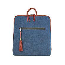 Batohy - Dámsky ruksak z talianskej prírodnej hovädzej kože, imitácia rifloviny - 10761029_