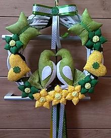 Dekorácie - Celoročný Veniec venček na dvere alebo do interiéru - Zaľúbené holubice (Zelenožlté holubičky) - 10761916_