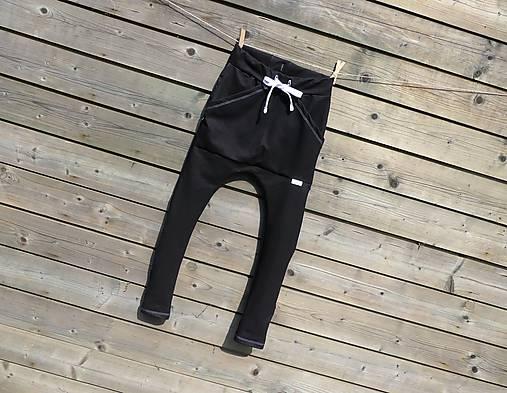 Nohavice - pudláče, čierna jeansovina