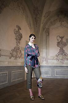 """Nohavice - Vlnenné nohavice s výšivkou z kolekcie """"PIZZA OR CAVIAR?"""" - 10761431_"""