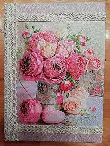 "Papiernictvo - Zápisník ""ruže vo vázičke"" - 10762680_"