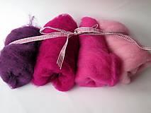Textil - Mykaná vlna - sada ružová 100 g - 10762830_