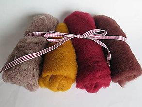 Textil - Mykaná vlna - sada hnedo-bordová 100 g - 10762822_