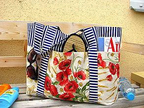 Veľké tašky - Plážová (oversized) taška - Máky kvetou na pláži - 10761760_